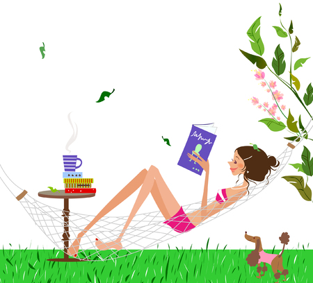 Side profile of a woman lying in a hammock reading a book