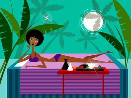 Mujer tendida en una mesa de masaje Foto de archivo - 78643928