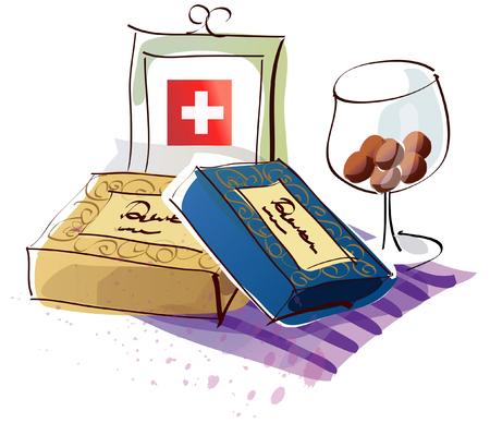 indulgence: Swiss flag with chocolates and a wine glass