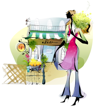 Side profile of a woman standing outside a flower shop