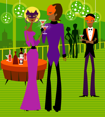 hair mask: Couple holding glasses of wine in a nightclub