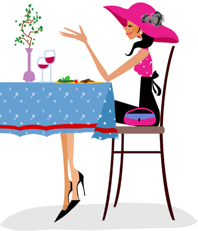 wineglass: Side profile of a woman sitting at a table in a restaurant Illustration