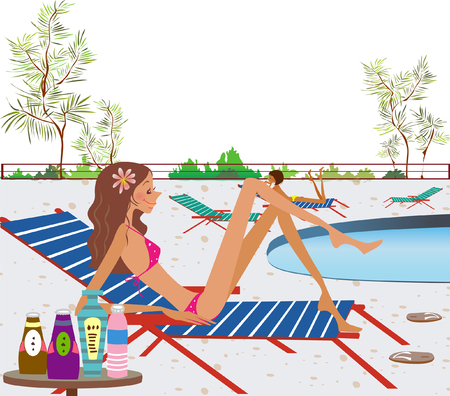 Side profile of a woman reclining on a lounge chair at the poolside Illustration