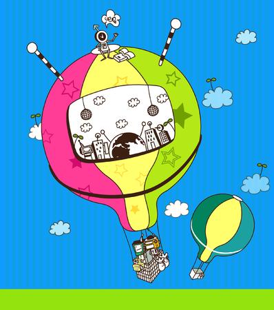 ロボット、熱気球の旅  イラスト・ベクター素材