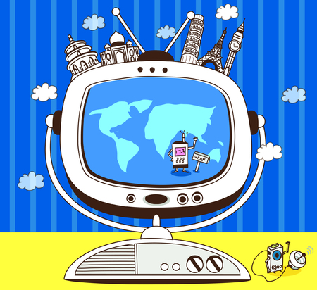 Worlds famous places on a television Illustration