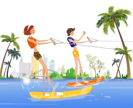 Side profile of a man and a woman waterskiing in the sea Illustration