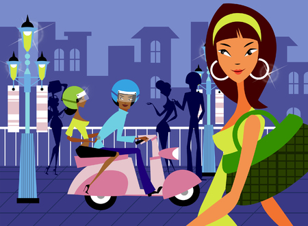 Woman carrying a hand bag with a couple riding a moped on the road Illustration