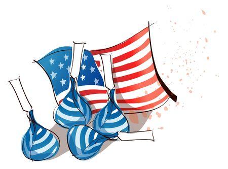 Vier zakken geld met een Amerikaanse vlag Stock Illustratie