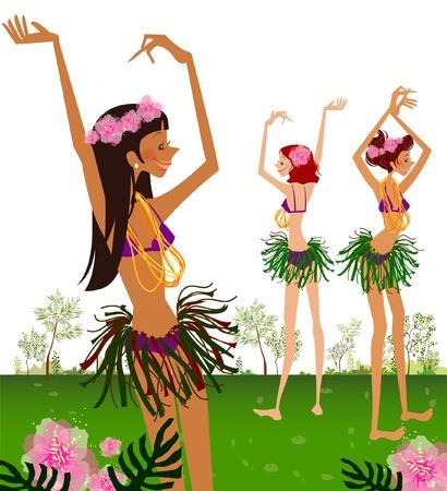 Three hula dancers dancing