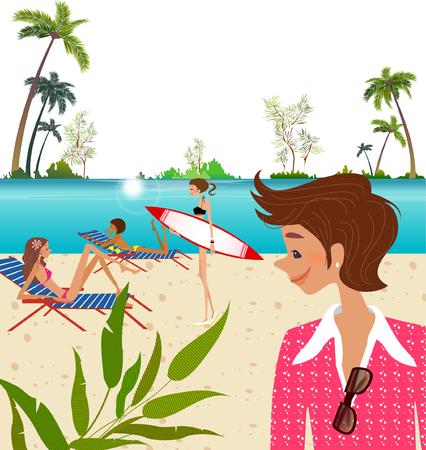 男がビーチで 3 人の女性を見て  イラスト・ベクター素材