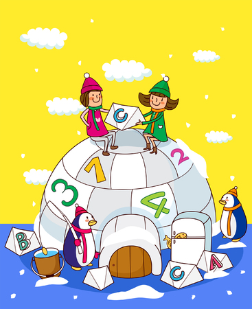 Two girls sitting on an igloo