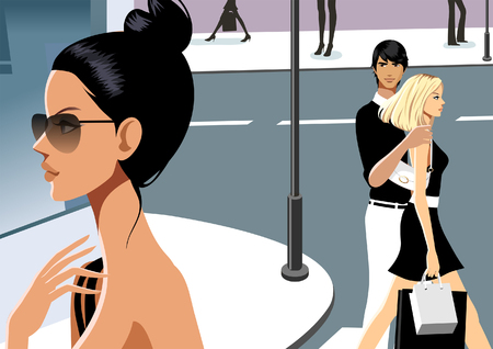 Side profile of a woman with a couple walking in the background Illustration