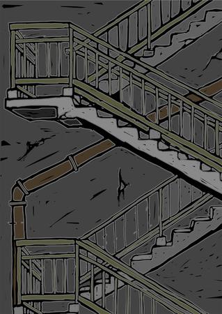 fire escape: Fire escape of a building Illustration