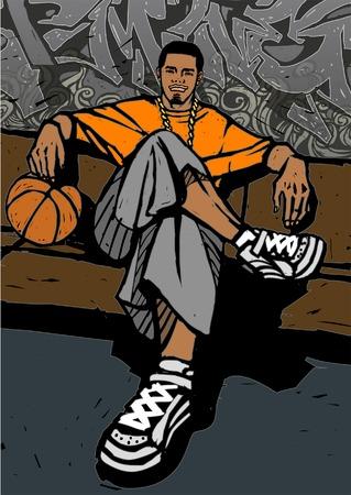 Mens die een basketbal houdt en op een bank voor een graffiti behandelde muur zit Stock Illustratie