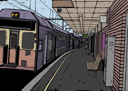 Train op een spoorwegstation