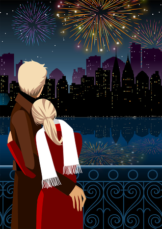 side viewing: Couple watching firework display at night Illustration
