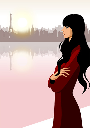 Side profile of a woman standing at a riverside Ilustração