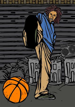 バスケット ボールを蹴る男の肖像