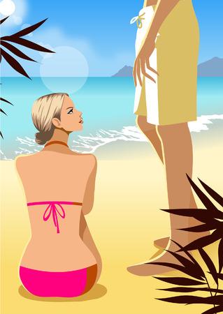 Vista trasera de una mujer sentada en la playa con un hombre de pie junto a ella Foto de archivo - 78601654
