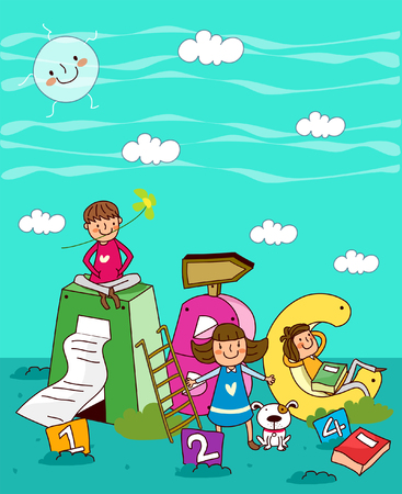 Three children with alphabets and numbers underwater Illustration