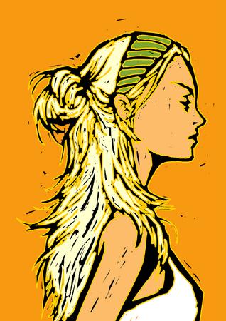 Close-up of a woman Иллюстрация