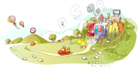Colorful abstract illustration of a park with car on road Çizim