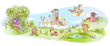 Parco con giocattoli con mare Archivio Fotografico - 78606698