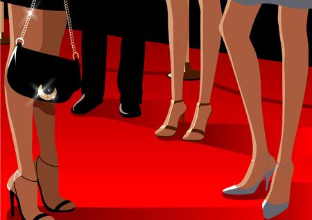 男の近くに立っている 3 人の女性の低断面図