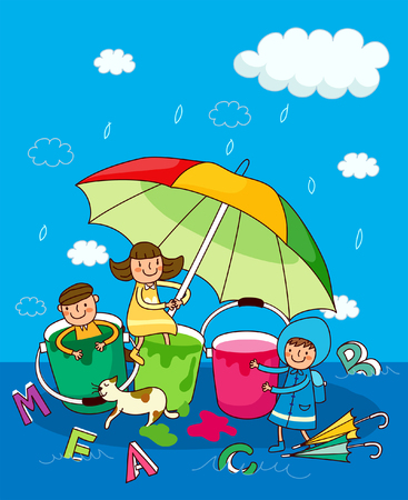 Two girls and a boy under an umbrella in the rain Stock Vector - 78606705
