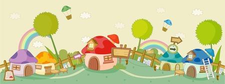 Parachutes over huizen met regenboog tegen gele lucht Stock Illustratie