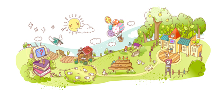 School with houses, helium balloons and sheep grazing on grass