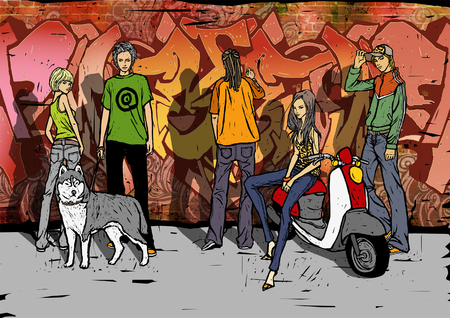 Side profile of a woman sitting on a moped with her friends standing in front of a graffiti covered wall Ilustrace
