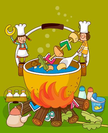 Two female chefs preparing food in a cauldron Illustration