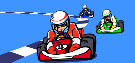 Three people participating in a go-carting race