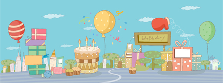 Birthday cake with candles, balloons and gift boxes against sky