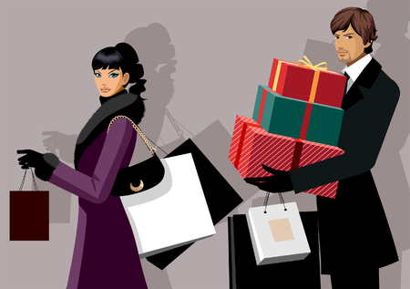 Couple carrying shopping bags and Christmas presents Illustration