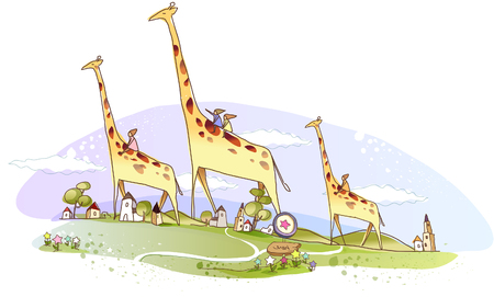 People riding on giraffes with buildings in background Ilustração
