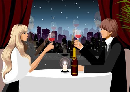 Couple holding glasses of red wine in a restaurant