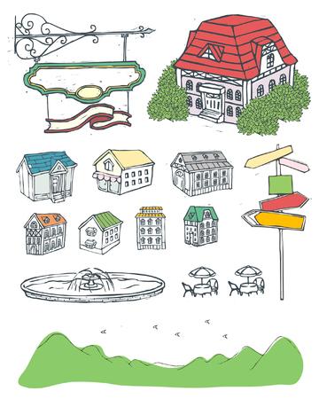 Variatie van objecten weergegeven tegen witte achtergrond Stock Illustratie