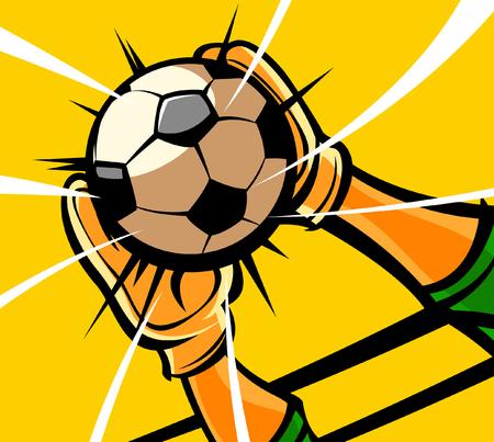 Primer plano de las manos de un portero cogiendo un balón de fútbol Foto de archivo - 78607012