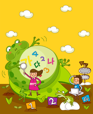 Girl holding a magnifying glass with another girl using a laptop near a giant frog