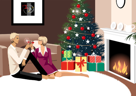 Couple toasting with glasses of red wine near a Christmas tree Illustration