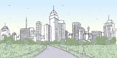 city lights: Narrow street amid trees and grass leading to skylines
