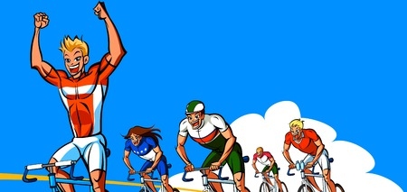 Man cheering on winning a cycling race Illustration