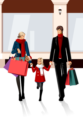 Couple carrying shopping bags and walking with their daughter Illustration
