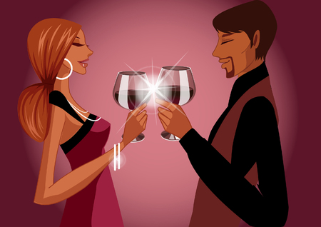 Side profile of a couple toasting with wine glasses