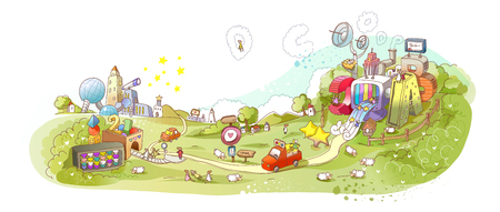 Colorful illustration cars moving through park Illustration