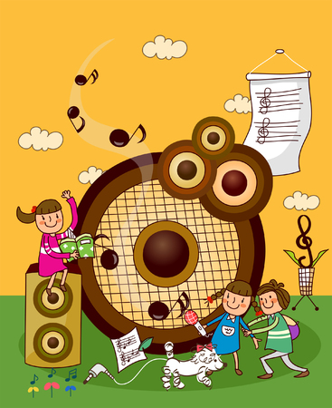 Three children with musical instruments
