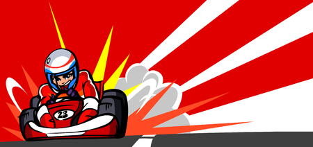 Person driving a go-cart on a motor racing track Illustration
