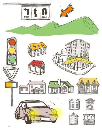 Variatie van objecten weergegeven tegen een witte achtergrond Stock Illustratie